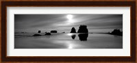 Silhouette of sea stacks at sunset, Second Beach, Olympic National Park, Washington State Fine Art Print