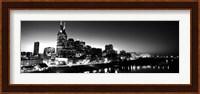 Skylines at night along Cumberland River, Nashville, Tennessee Fine Art Print