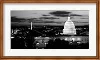 High angle view of a city lit up at dusk, Washington DC Fine Art Print
