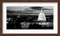 High angle view of a city lit up at dusk, Washington DC Fine Art Print