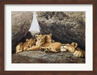 Lioness With Cubs Fine Art Print