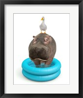 Hippo And Duck Fine Art Print