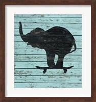 Elephant On Skateboard Fine Art Print