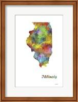Illinois State Map 1 Fine Art Print