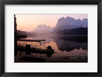 Vintage Boat on River in Guangxi Province, China, Asia Fine Art Print