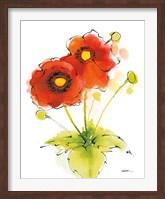 Flores Rojas Green Leaves I Fine Art Print