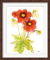 Flores Rojas Green Leaves II Fine Art Print