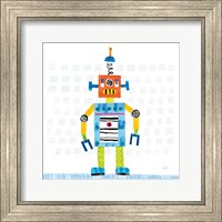 Robot Party II on Squares Fine Art Print