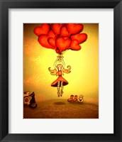 Girl Holding Heart Balloons Fine Art Print