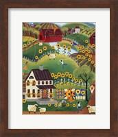 Primitive Quilt Maker House Sunflower Sheep Fine Art Print