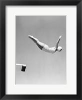 Woman Swan Dive Off Diving Board, 1950 Fine Art Print