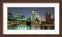 The Brooklyn Bridge and Twin Towers at Night Fine Art Print