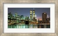 The Brooklyn Bridge and Twin Towers at Night Fine Art Print