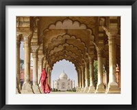 Woman in traditional Sari walking towards Taj Mahal Fine Art Print
