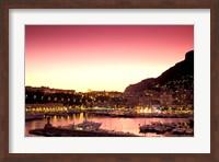 Harbor at Sunset, Monte Carlo, Cote D'Azure, Monaco Fine Art Print