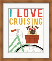 Beach Bums Pug Bicycle I Love Fine Art Print