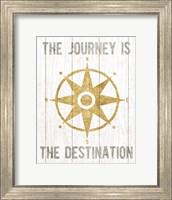 Beachscape IV Compass Quote Gold Neutral Fine Art Print