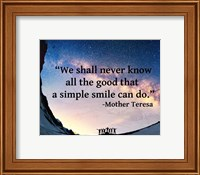 A Simple Smile - Mother Teresa Quote Fine Art Print
