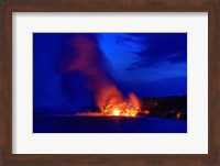 Lava Flowing Into Ocean, Hawaii Volcanoes National Park, Big Island, Hawaii Fine Art Print