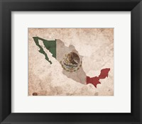 Map with Flag Overlay Mexico Fine Art Print