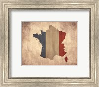 Map with Flag Overlay France Fine Art Print