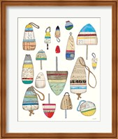 Lobster Buoys on White Fine Art Print
