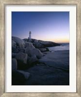 Peggys Cove Lighthouse at Night, Nova Scotia, Canada Fine Art Print