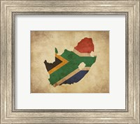 Map with Flag Overlay South Africa Fine Art Print
