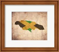 Map with Flag Overlay Jamaica Fine Art Print