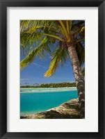 Palm trees and lagoon entrance, Musket Cove Island Resort, Fiji Fine Art Print