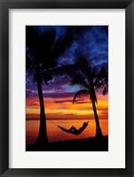 Woman in hammock, and palm trees at sunset, Coral Coast, Viti Levu, Fiji Fine Art Print