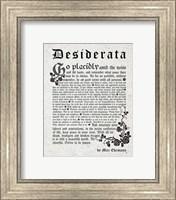 Old English Desiderata In Gray Fine Art Print