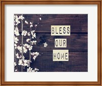 Bless Our Home Flowers on Wood Background Fine Art Print