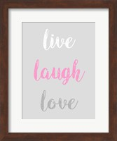 Live Laugh Love - Gray with Pink Text Fine Art Print