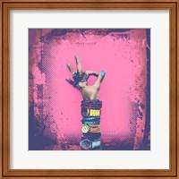 OK! Grunge Halftone Pink Fine Art Print