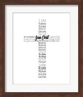Names of Jesus Cross Silhouette White Fine Art Print