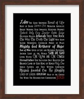 Names of Jesus Rectangle Gray and Red Text Fine Art Print