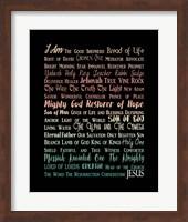 Names of Jesus Rectangle Orange Ombre Text Fine Art Print