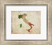 Map with Flag Overlay Italy Fine Art Print