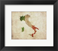 Map with Flag Overlay Italy Fine Art Print