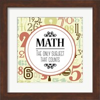Math The Only Subject That Counts Red Fine Art Print