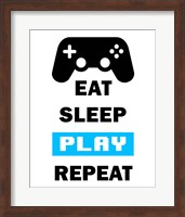 Eat Sleep Game Repeat  - White and Blue Fine Art Print
