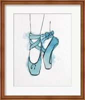Ballet Shoes En Pointe Blue Watercolor Part III Fine Art Print
