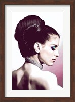 Vintage Fashion Woman With Necklace Pink Fine Art Print
