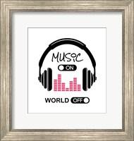 Music On, World Off Headphones White Background Fine Art Print