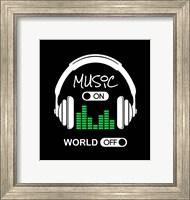 Music On, World Off Headphones Black Background Fine Art Print