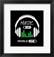 Music On, World Off Headphones Black Background Fine Art Print