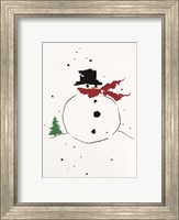 Snowman with Red Scarf Fine Art Print