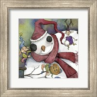 Snowman and Elves Fine Art Print