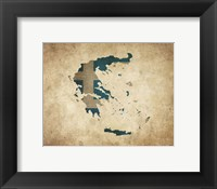Map with Flag Overlay Greece Fine Art Print